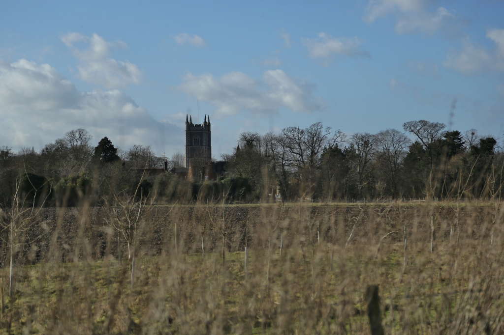 Dedham Church tower reminds us where we are....